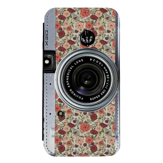 Floral Camera for iPhone 5/5s/SE 6/6s 6/6sPlus 7/7Plus 8/8Plus X Samsung Galaxy S6/S6Edge S7/S7Edge S8/S8Plus Wallet Case