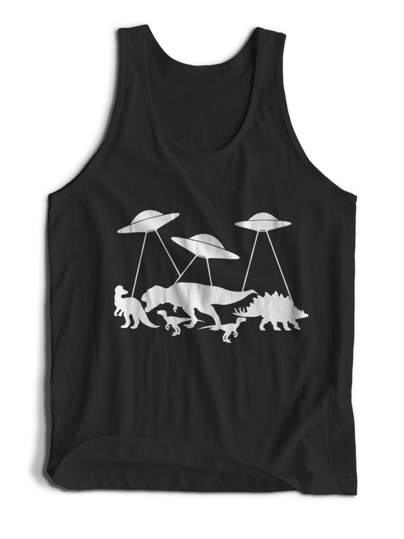 Dinosaur UFO Exstinction Alien Ships for Men Women Teens Unisex Adult Apparel Tank Top Summer Clothing Great Gift Ideas Colorful Tank Tops