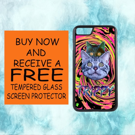 Trippy Acid Illusion Cats Case With FREE Tempered Glass Screen Protector For iPhone 8 iPhone 8 Plus iPhone 7 iPhone 7 Plus iPhone X