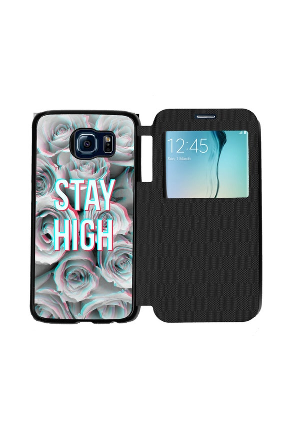 Unique Trendy Trippy Stay High Floral Phone Case  for Samsung GalaxyS6, S6 EDGE, S7 and S7 EDGE Flip Case