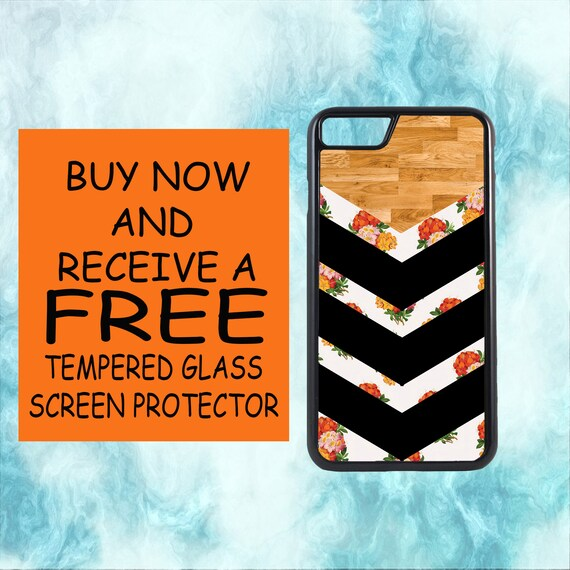 Floral Chevron Case With FREE Tempered Glass Screen Protector For iPhone 8 iPhone 8 Plus iPhone 7 iPhone 7 Plus iPhone X