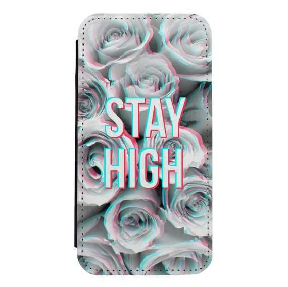 Stay High Floral for iPhone 5/5s/SE 6/6s 6/6sPlus 7/7Plus 8/8Plus X Samsung Galaxy S6/S6Edge S7/S7Edge S8/S8Plus Wallet Case