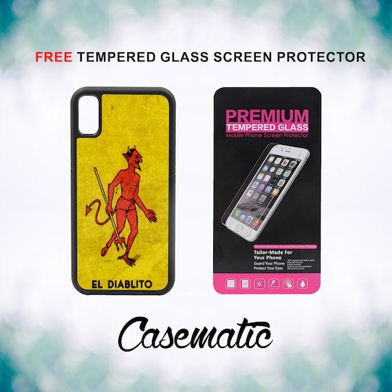 Mexican El Diablito El Loteria iPhone Case for iPhone XR XS Max X 8 Plus 8 7 Plus 7 6 Plus 6 6s SE 5S 5c 4 4s Free Screen Protector Devil