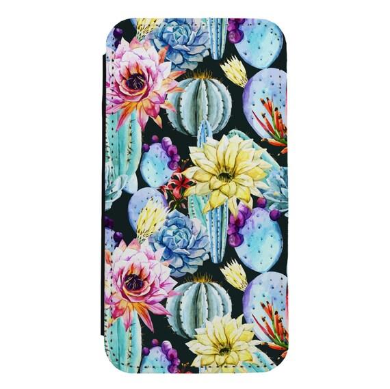 Summer Cactus Painting for iPhone 5/5s/SE 6/6s 6/6sPlus 7/7Plus 8/8Plus X Samsung Galaxy S6/S6Edge S7/S7Edge S8/S8Plus Wallet Case