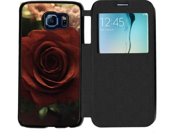 Unique Trendy Pretty Bloomed Red Rose Romance Phone Case  for Samsung GalaxyS6, S6 EDGE, S7 and S7 EDGE Flip Case