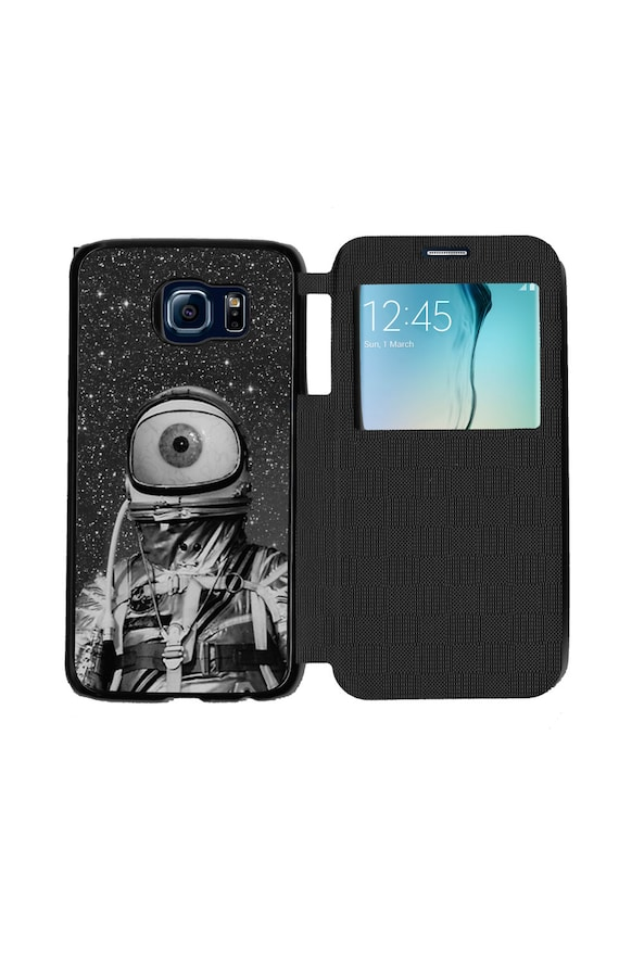 Unique Trendy Eyeball Astronaut In Space for Samsung GalaxyS6, S6 EDGE, S7 and S7 EDGE Flip Case