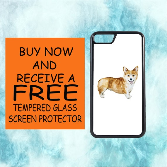 Corgi Watercolor Case With FREE Tempered Glass Screen Protector For iPhone 8 iPhone 8 Plus iPhone 7 iPhone 7 Plus iPhone X