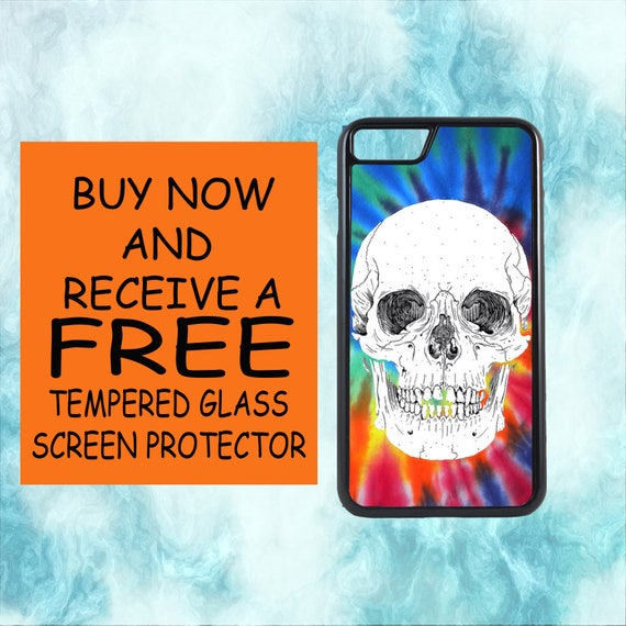 Tie Dye Skull Design Case With FREE Tempered Glass Screen Protector For iPhone 8 iPhone 8 Plus iPhone 7 iPhone 7 Plus iPhone X