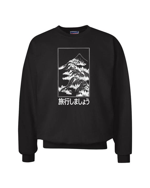 Let's Go Travel Fuji Japan for Adult Unisex Sweater Crewneck Sweatshirts Warm Sweaters Crewneck Women Clothing Men Clothing Ryokō shimashou tI4p1szY