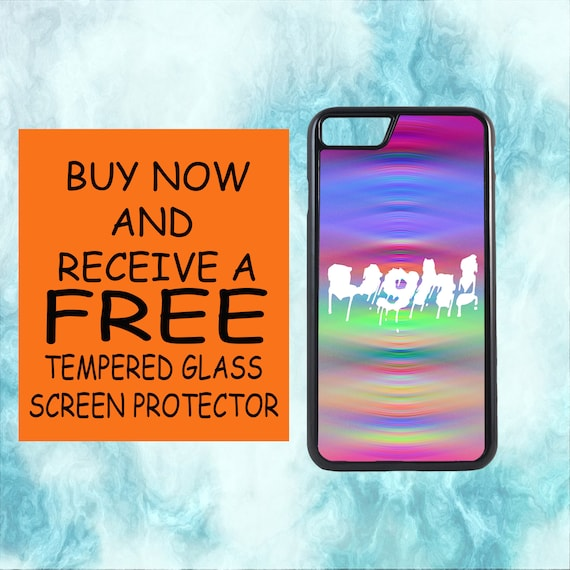 Pastel Ugh Goth Psychedelic Case With FREE Tempered Glass Screen Protector For iPhone 8 iPhone 8 Plus iPhone 7 iPhone 7 Plus iPhone X