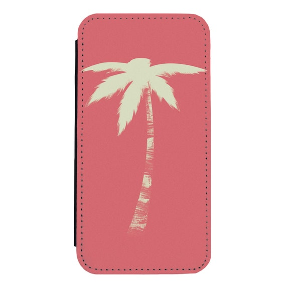 Retro Palm Tree Coral for iPhone 5/5s/SE 6/6s 6/6sPlus 7/7Plus 8/8Plus X Samsung Galaxy S6/S6Edge S7/S7Edge S8/S8Plus Wallet Case