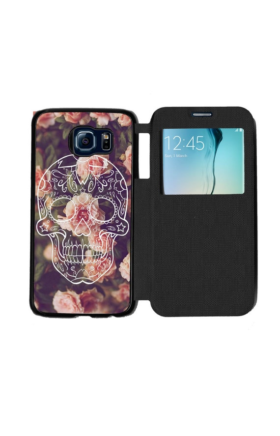 Unique Day of The Dead Trendy Halloween Sugar Skull On Vintage Floral Phone Case  for Samsung GalaxyS6, S6 EDGE, S7 and S7 EDGE Flip Case