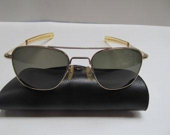 5f31b9835a American   Optical  Vietnam  War  Aviator   Sunglasses  5 1 2   Original   Vintage   Gold   Frame  Rim  Aviation