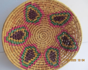 Handmade//Colorful Woven Basket//Coiled //Aztec //Coil Basket //Bowl//Mexican /South American//