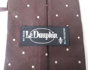 Brown Polka Dots - Neck Tie - Le Daupin -  51'' x  3 6/8'' - Polyester  Men's Necktie -