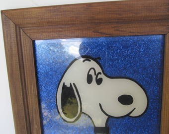 Peanuts Snoopy - Picture - Vintage Snoopy - Wood Frame Picture - with blue backing // back ground