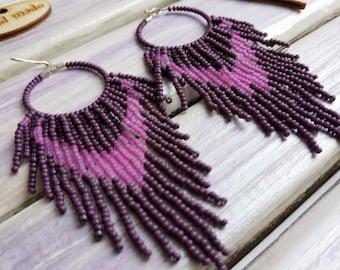 Beaded hoop earrings Beaded earrings tassel Lilac boho earrings Fringe earrings Gift earrings Seed bead hoops Beaded hoop earrings