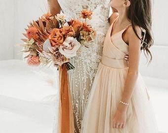 TERRACOTTA hand dyed silk+cotton ribbon for bridal bouquet Rustic wedding ribbon Silk invitations ribbon
