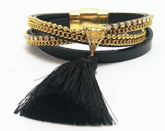Black multistrand bracelet Tassel bracelet Gold chain bracelet Everyday bracelet Tassel bracelet boho Multi chain bracelet Tassel bracelet