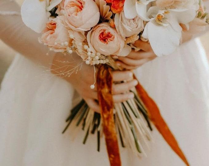BURNT ORANGE silk velvet ribbon Bridal bouquet hand dyed ribbon Rustic style silk velvet ribbon Wedding photography