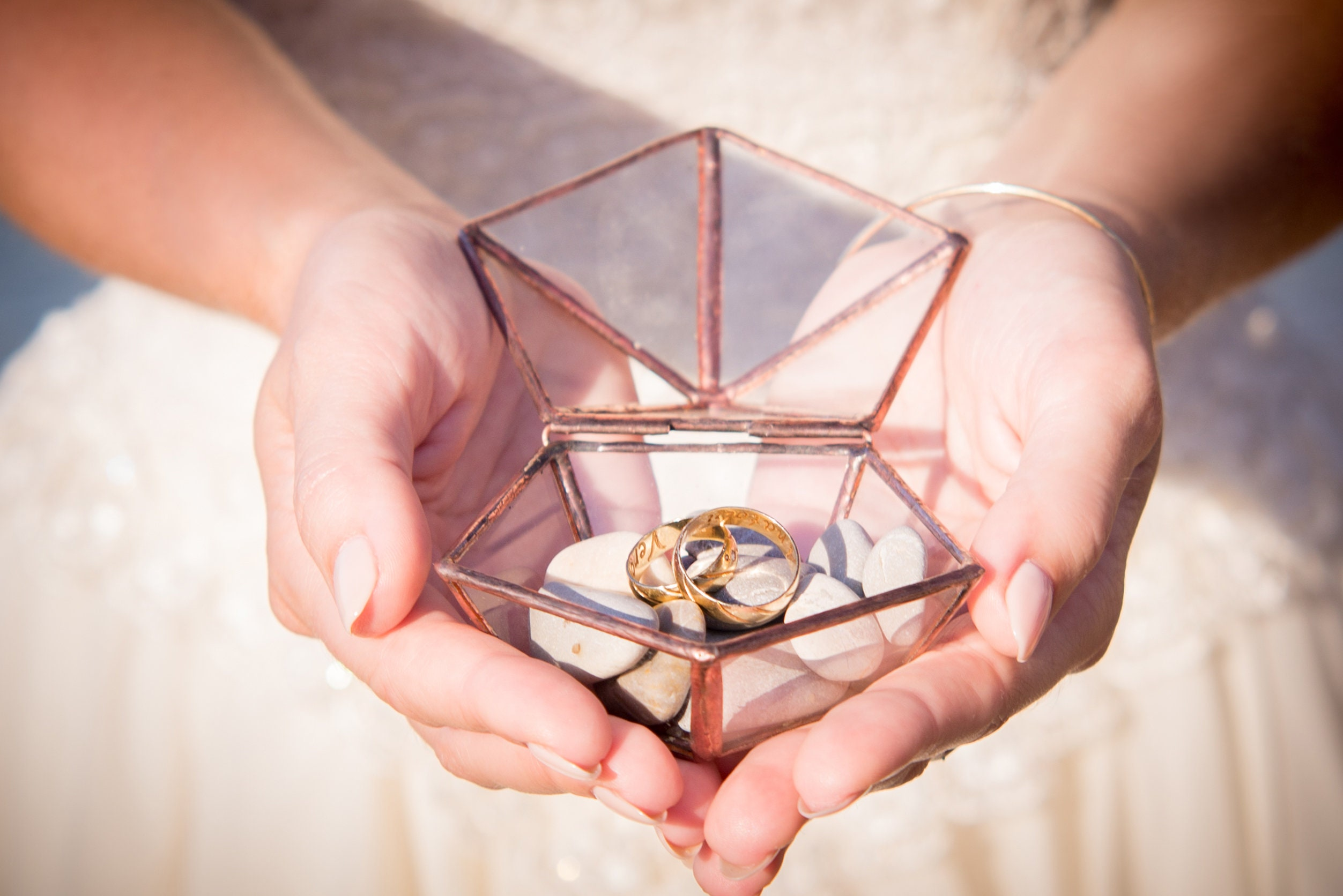 Glass ring box Hawaii wedding Beach ceremony Geometric ring