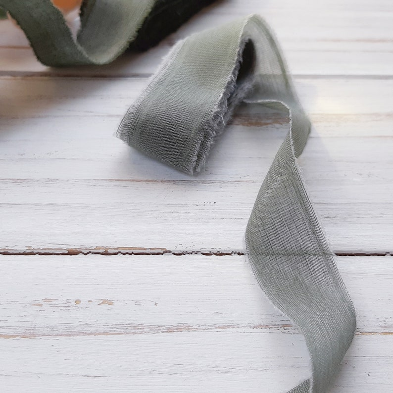 Sage green silk ribbon Ribbon for bouquet in green color