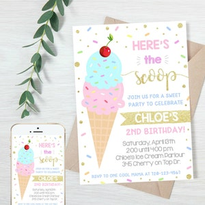 Editable Ice Cream Food Labels Ice Cream Birthday Food Cards Tent Card Girl Pink Gold the Scoop Buffet Label Tent Card Template Corjl 0243