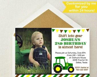 Tractor Photo Invitation // Tractor Birthday Invitation // John Deere Invitation // Farmer Invitation // Tractor Invite // Get in Gear