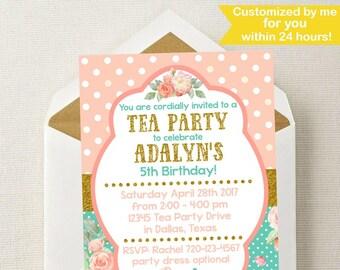 tea party invitation tea party birthday invitation tea party etsy