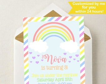 Rainbow Birthday Invitation // Rainbow Invitation // Rainbow Birthday Party // Girl Invitation // Rainbow Invite // Under the Rainbow Invite