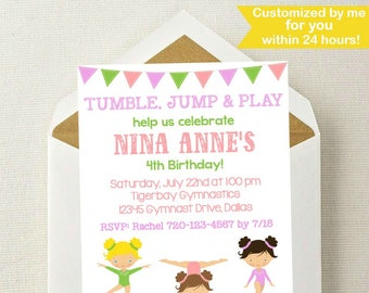 Gymnastics Birthday Invitation // Gymnastics Party Invitation // Gymnastics Birthday // Gymnast Invitation // Gymnastics Invite Printable