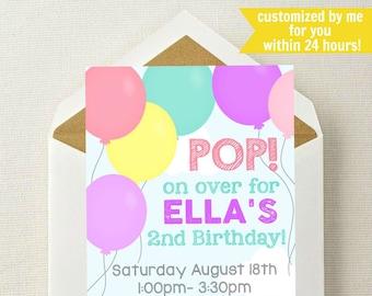 Balloon invitation etsy balloon birthday invitation girl balloon invitation balloon birthday party invitation balloon invite pop on over time flies filmwisefo