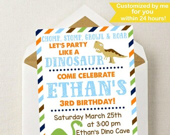 Dinosaur Birthday Invitation // Dinosaur Invitation // Dinosaur Birthday Party // Dino Invite // Dino Party // Chomp Stomp Growl Roar / Dino