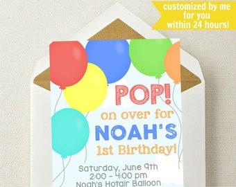 Balloon invitation etsy balloon birthday invitation balloon invitation balloon birthday party invitation balloon invite pop on over time flies filmwisefo
