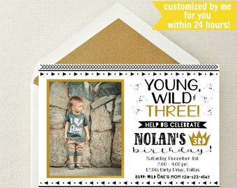Young Wild And Three Photo Invitation Boy 3rd Birthday Invite Free Invitiation