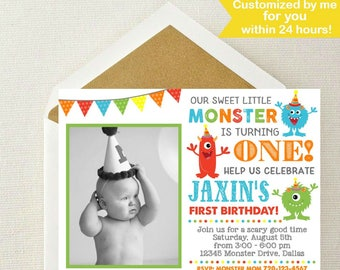 Monster Photo Invitation / Little Monster Invitation / Cute Monster Birthday Invitation / Monster Birthday Party / Monster Birthday