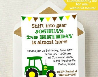 Tractor Birthday Invitation John Deere Farmer Invite Get In Gear