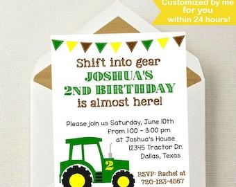 John Deere Birthday Invitation Etsy