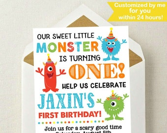 Little Monster Birthday Invitation / Monster Invitation / Monster Birthday Invitation / Monster Birthday Party / Monster Birthday / Any Age