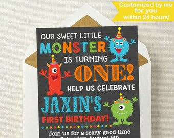 Little Monster Birthday Invitation / Monster Invitation / Monster Birthday Invitation / Monster Birthday Party / Monster Birthday