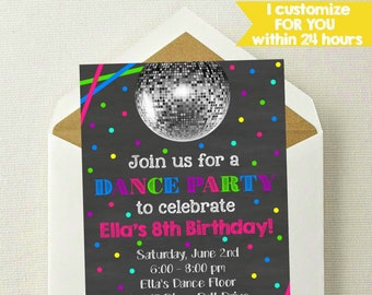 Dance party invite Etsy