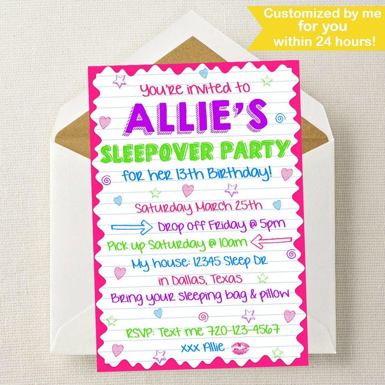 Sleepover Invitation Birthday Party Invite