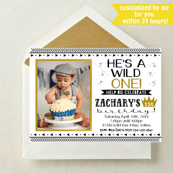 Wild One Photo Invitation Birthday 1st