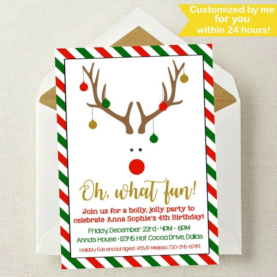 christmas birthday invitation christmas birthday party etsy