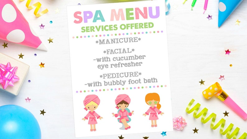 image relating to Spa Party Printable referred to as EDITABLE Spa Occasion Printable / Spa Social gathering Menu Editable / Spa Celebration Companies Out there / Spa Social gathering Decor / Spa Birthday Occasion / Spa Expert services