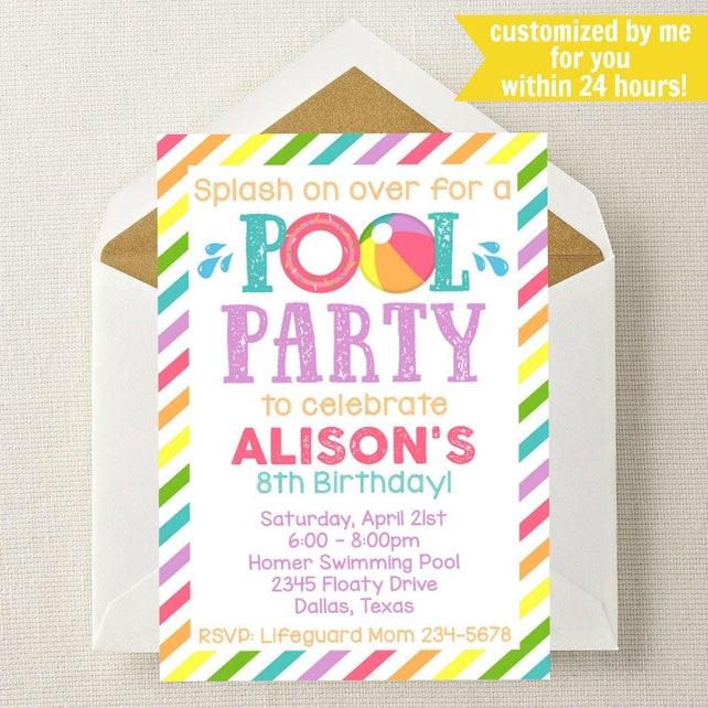 Pool Invitation Party Birthday