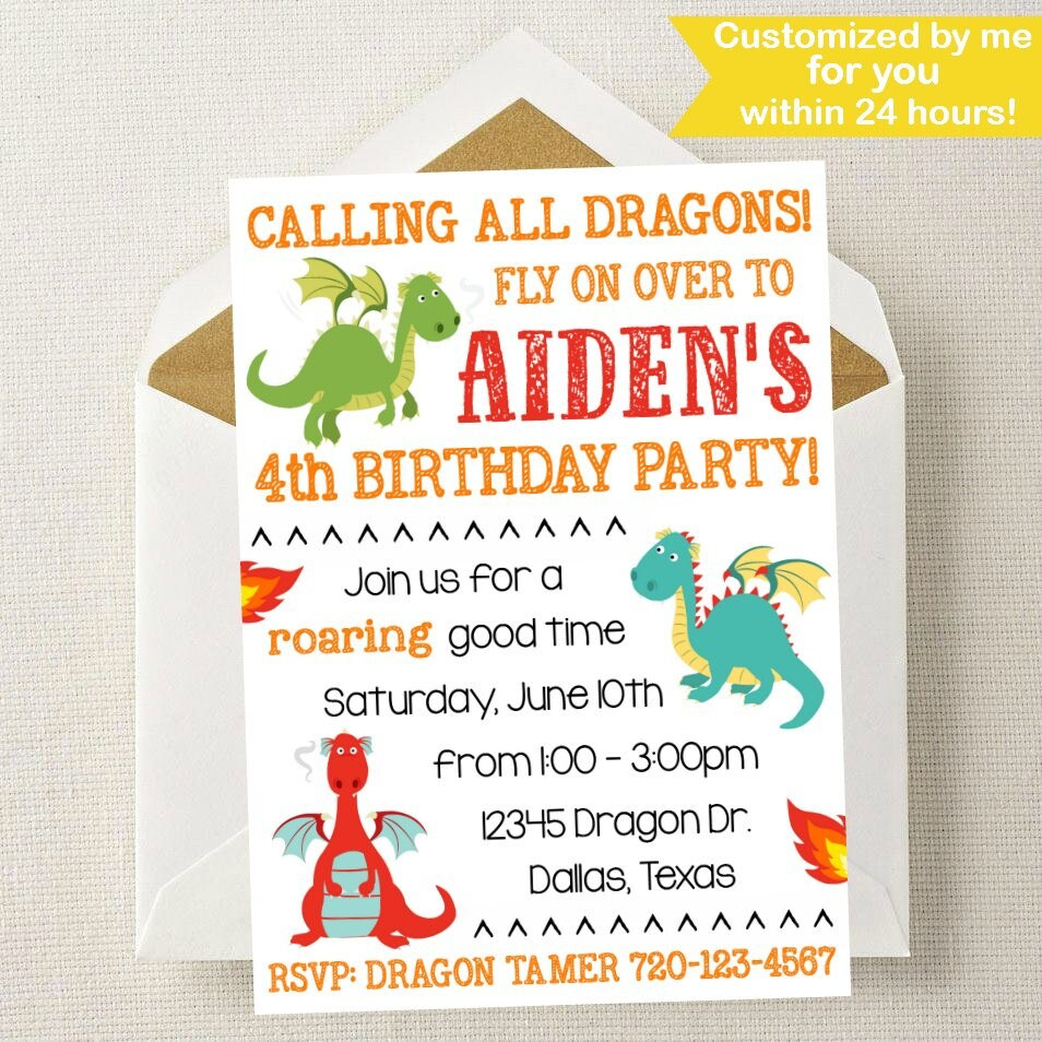 Dragon Invitation // Dragon Invite // Dragon Birthday Party // | Etsy