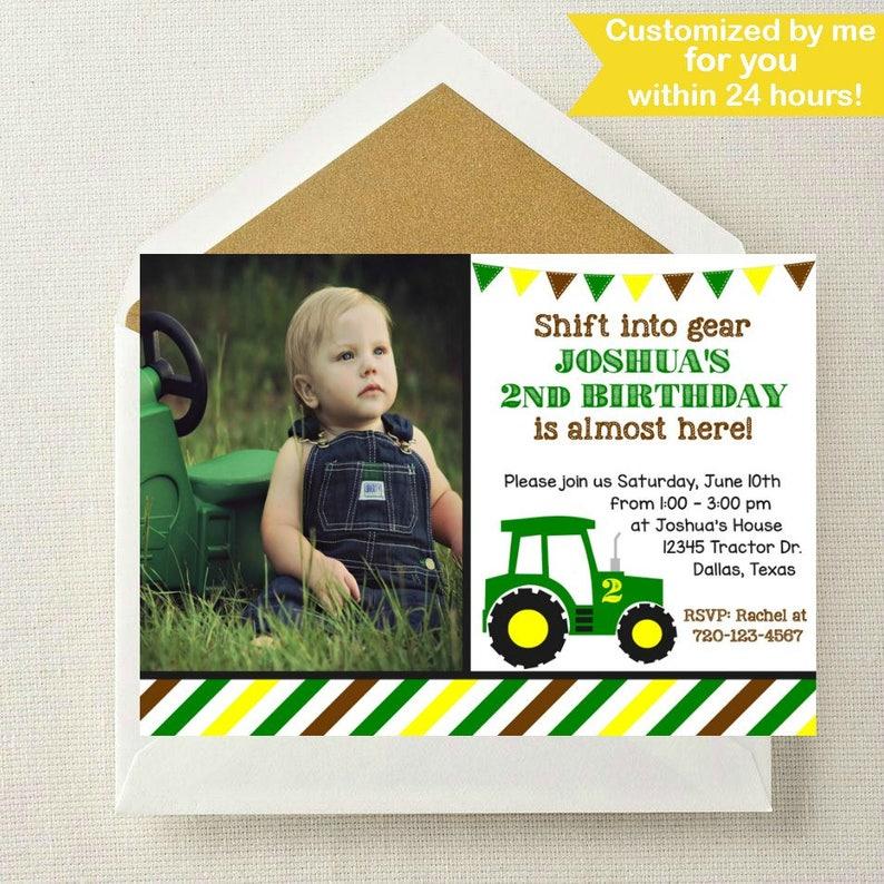 Tractor Photo Invitation Birthday