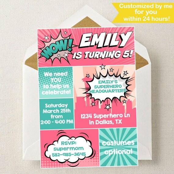 girl superhero invitation superhero girl birthday etsy