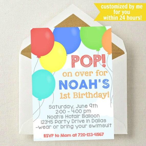 balloon birthday invitation balloon invitation balloon etsy